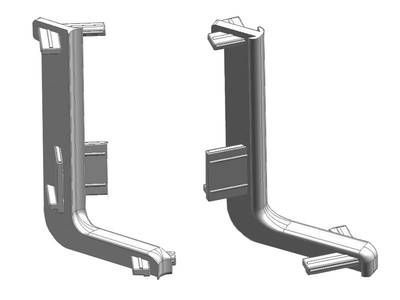 Комплект угловых элементов 90° верхнего профиля GOLA Alphalux (внешний+внутренний), пластик, серый Изображение