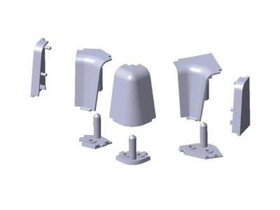 Комплект соединителей овального пристеночного бортика, пластик, серый (2 90 градусов, 2 заглушки, 1 135 градусов) Изображение 4