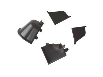 Комплект соединителей овального пристеночного бортика (2 заглушки, 90° внутренний, 90° внешний) пластик, черно-серый Изображение