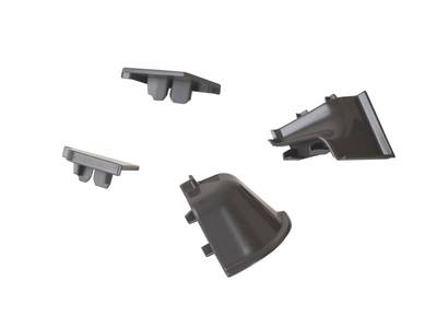 Комплект соединителей овального пристеночного бортика (2 заглушки, 90° внутренний, 90° внешний) пластик, черно-серый Изображение 3