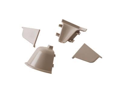 Комплект соединителей овального пристеночного бортика (2 заглушки, 90° внутренний, 90° внешний) пластик, серый Изображение