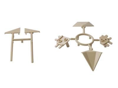 Комплект соединителей треугольного пристеночного бортика ALPHALUX (6 частей), пластик, бежевый Изображение