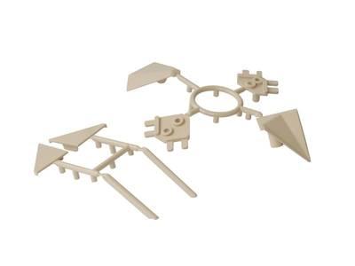 Комплект соединителей треугольного пристеночного бортика ALPHALUX (6 частей), пластик, бежевый Изображение 3