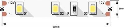 Лента светодиодная 2835/60, 12V, 5м, теплый белый 3200К, IP20, 4.8W/м Изображение 2