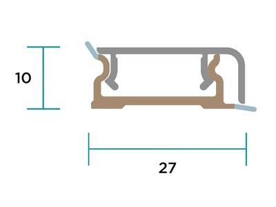 Пристеночный бортик прямоугольный SCILM (10х30 мм, L=4000 мм, алюминий) Изображение 2