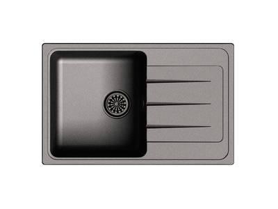 Мойка врезная EW-Е50F, цвет черный, кварц (+сифон) Изображение