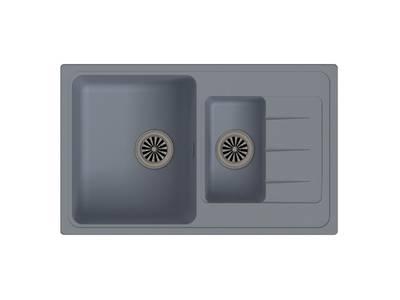 Мойка врезная EW-Е60KF, цвет серый металлик, кварц (+сифон) Изображение