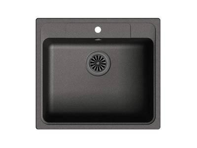 Мойка врезная EW-Е60, цвет черный, кварц (+сифон) Изображение
