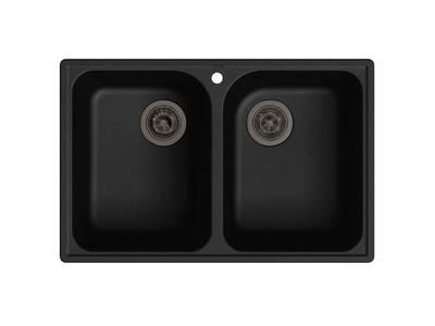Мойка врезная GF-QUARZ (Z15) 74х48см, цвет черный, кварц Изображение
