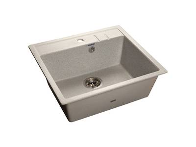 Мойка врезная QUADRO 55.8х50см, цвет серый, мрамор (+сифон) Изображение