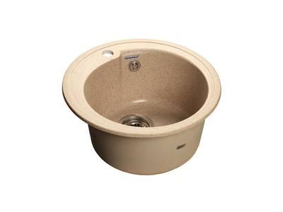 Мойка врезная Rondo GF-R 45см, глубина 19см, цвет песочный, мрамор (+сифон) Изображение