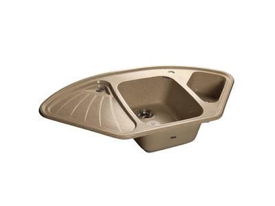 Мойка врезная угловая CORNER 103.9*56см, цвет песочный, мрамор (+сифон) Изображение