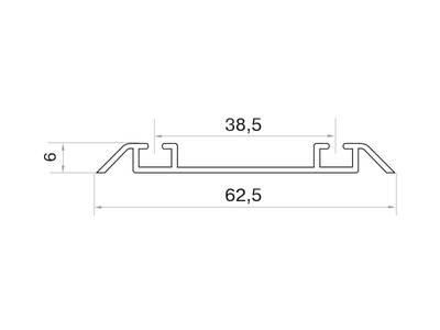 Направляющая нижняя, алюминий в ПВХ, L=5900 мм, дуб дымчатый с тиснением. Изображение