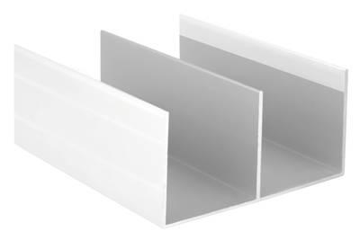 Направляющая верхняя, алюминий в ПВХ, белый глянец, 5900 мм Изображение