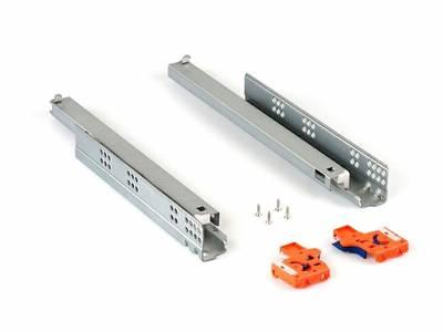 Направляющие скрытого монтажа Firmax (полного выдвижения) L=450мм, для ЛДСП 19 мм с доводчиком, (2 направляющие + 2 крепления) Изображение