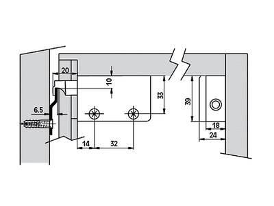 Навес для шкафа под саморез, левый, белый Изображение 2