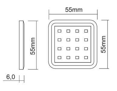 PALIS-18 LED светильник накладной квадратный, серебристый, 12V, нейтральный белый 4000K, 110Lm, 1.3W Изображение 2