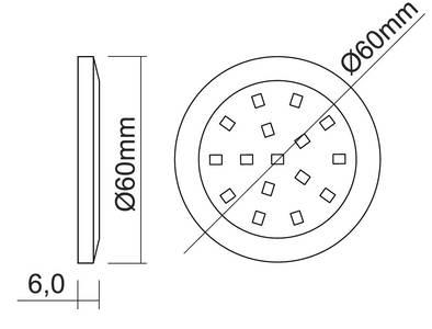 PALIS-19 LED светильник накладной круглый, серебристый, 12V, нейтральный белый 4000K, 110Lm, 1.3W Изображение 2