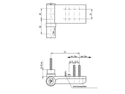 [ПОД ЗАКАЗ] Петля Maxbar KT-EV наплав 15-20мм, Белый RAL9016 Изображение 3