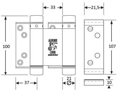 Петля барная/пружинная Aldeghi (100 мм, до 34 кг, хромированная) Изображение 4
