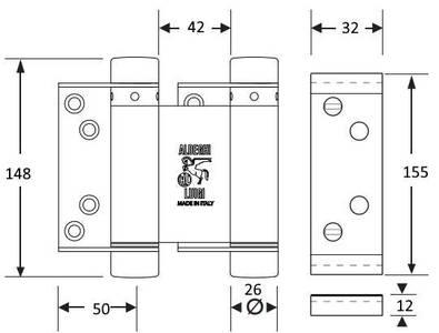 Петля барная 150 мм. для деревянных дверей до 63 кг., бронзовая сталь Изображение 2