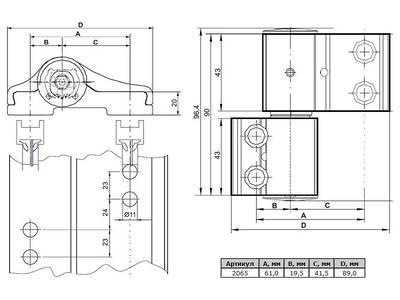 Петля дверная 2-х секционная Albrio (М/О=61 мм, без креплений, черная) Изображение 2