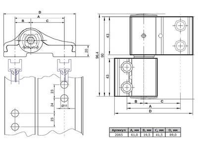 Петля дверная 2-х секционная Albrio (М/О=61 мм, без креплений, серая) Изображение 2