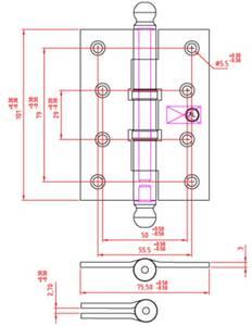Петля карточная, универсальная 101х76х3 мм для  дверей до 65 кг., античная латунная сталь Изображение 2