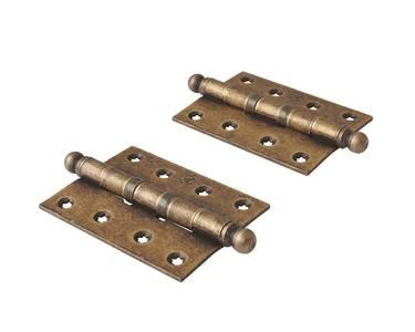Петля карточная, универсальная 101х76х3 мм для  дверей до 65 кг., античная латунная сталь Изображение 3