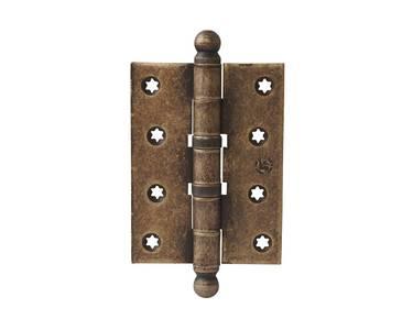 Петля карточная, универсальная 101х76х3 мм для  дверей до 65 кг., античная латунная сталь Изображение