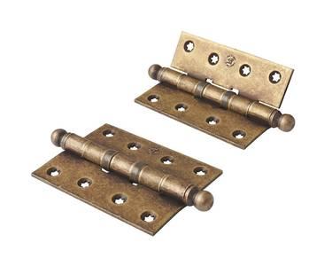 Петля карточная, универсальная 101х76х3 мм для  дверей до 65 кг., античная латунная сталь Изображение 4