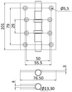 Петля карточная, универсальная 101х76х3 мм для дверей до 65 кг, плоская пешка, хром матовый Изображение 2