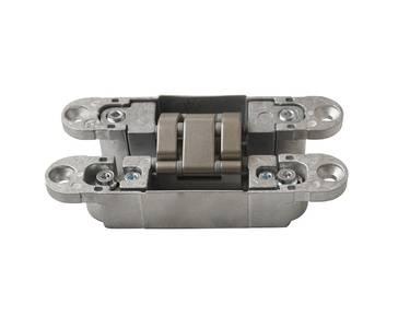 Петля скрытая, 3D, универсальная, 120x23 мм, 60 кг, корпус без покрытия  шарнирная часть никель матовый Изображение 3
