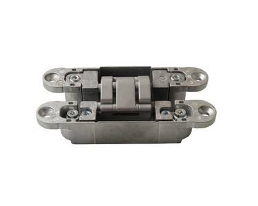 Петля скрытая, 3D, универсальная, 120x23 мм, 60 кг, корпус без покрытия  шарнирная часть серебро матовое Изображение 3