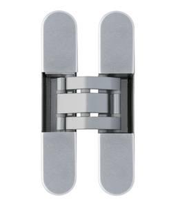 Петля скрытая, 3D, универсальная, 120x23 мм, 60 кг, плюс 4 колпачка, корпус без покрытия  шарнирная часть серебро матовое Изображение