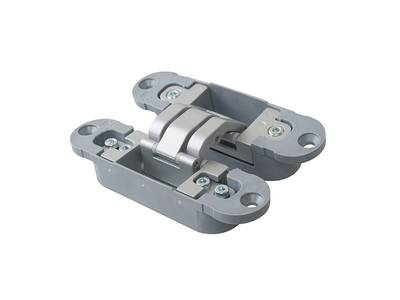 Петля скрытая, 3D, универсальная, 120x30 мм, 40 кг, цамак/нейлон, серебро матовое Изображение