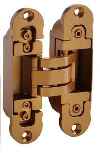 Петля скрытая, 3D, универсальная, 120x30 мм, 60 кг, цамак, специальная бронза Изображение