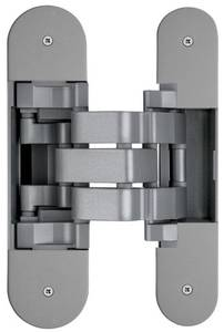 Петля скрытая для компланарных дверей, универсальная, 3D, 130x32/25 мм, 60 кг, цамак и алюминий, с 4 накладками и 4 винтами для крепления накладок, никель матовый Изображение