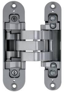 Петля скрытая для компланарных дверей, универсальная, 3D, 130x32/25 мм, 60 кг, цамак и алюминий, с 4 накладками и 4 винтами для крепления накладок, никель матовый Изображение 2