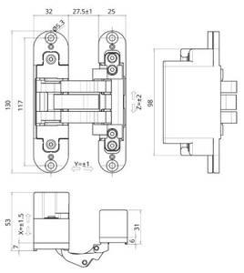 Петля скрытая для компланарных дверей, универсальная, 3D, 130x32/25 мм, 60 кг, цамак и алюминий, с 4 накладками и 4 винтами для крепления накладок, никель матовый Изображение 3
