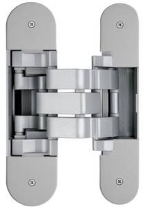 Петля скрытая для компланарных дверей, универсальная, 3D, 130x32/25 мм, 60 кг, цамак и алюминий, с 4 накладками и 4 винтами для крепления накладок, серебро матовое Изображение
