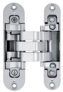 Петля скрытая для компланарных дверей, универсальная, 3D, 130x32/25 мм, 60 кг, цамак и алюминий, с 4 накладками и 4 винтами для крепления накладок, серебро матовое Изображение 2