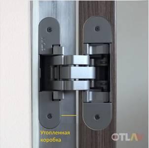 Петля скрытая для компланарных дверей, универсальная, 3D, 130x32/25 мм, 60 кг, цамак и алюминий, с 4 накладками и 4 винтами для крепления накладок, серебро матовое Изображение 9