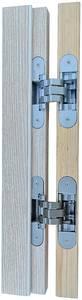 Петля скрытая для компланарных дверей, универсальная, 3D, 130x32/25 мм, 60 кг, цамак и алюминий, с 4 накладками и 4 винтами для крепления накладок, серебро матовое Изображение 14