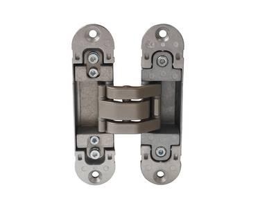 Петля скрытая, универсальная, 3D, 120x30 мм, 60 кг, корпус без покрытия шарнирная часть никель матовый Изображение