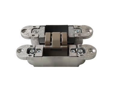 Петля скрытая, универсальная, 3D, 120x30 мм, 60 кг, корпус без покрытия шарнирная часть никель матовый Изображение 3