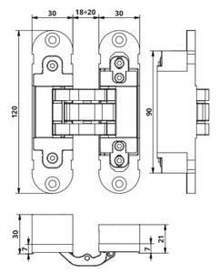 Петля скрытая, универсальная, 3D, 120x30 мм, 60 кг, корпус без покрытия шарнирная часть никель матовый Изображение 6