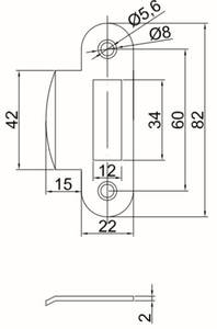 Планка ответная, MAXBAR, для фалевой защелки, для дверей без наплава, универсальная, хром матовый Изображение 2
