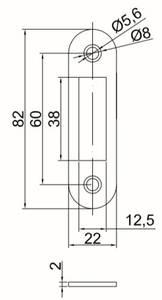 Планка ответная, MAXBAR, для фалевой защелки, для дверей с наплавом, универсальная, латунь матовая Изображение 2
