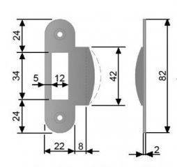 Планка ответная для дверей без наплава, шириной 22мм,универсальная, хром матовый Изображение 5